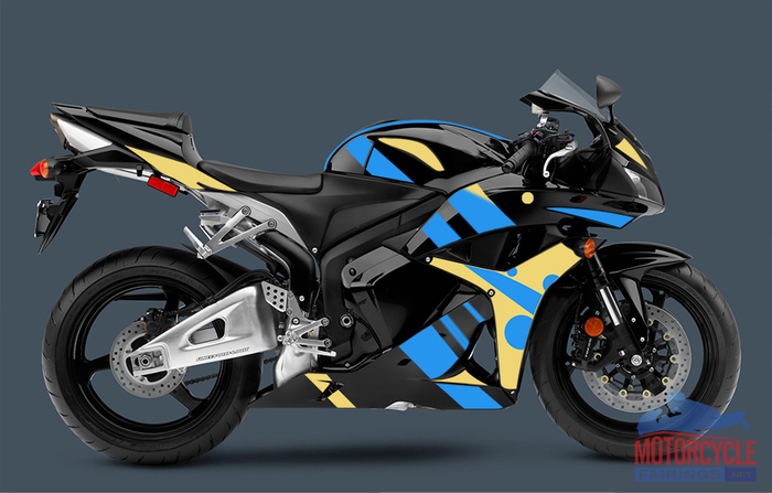 Abs Fairings Custom Blue And Yellow Retro Fairings Set