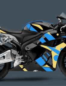 ABS Fairings Custom Blue and Yellow Retro Fairings Set - Honda CBR 600 RR 2007-2008