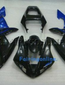Black/Blue ABS Fairing Set 14pc - Yamaha R1 2002-2003
