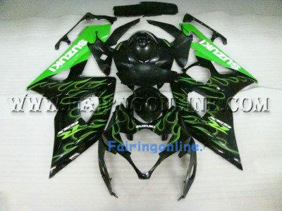 Suzuki GSXR 1000 2005-2006 ABS Fairing Set - Black/Green