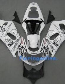 White/Black ABS Fairing Set 11pc - Suzuki GSXR 600/750 2001-2003