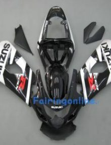 Black/Silver ABS Fairing Set 13pc - Suzuki GSXR 600/750 2004-2005