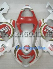 White/Red Lucky Strike ABS Fairing Set 13pc - Suzuki GSXR 600/750 2004-2005