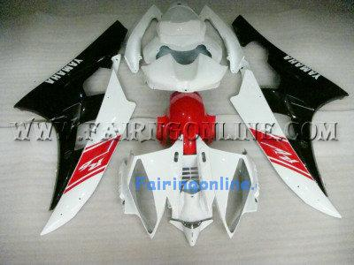 Black/Red/White ABS Fairing Set 19pc - Yamaha R6 2006-2007