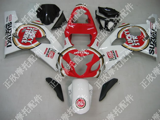 ZXMT White/Red Lucky Strike ABS Fairing Set 10pc - Suzuki GSXR 600/750 2004-2005
