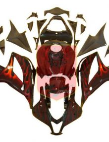 Aftermarket Black/Red Flame ABS Fairing Set 23pc - Honda CBR600RR 2007-2008