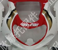 ZXMT White/Red Lucky Strike ABS Fairing Set 9pc - Suzuki GSXR 600/750 2000-2003