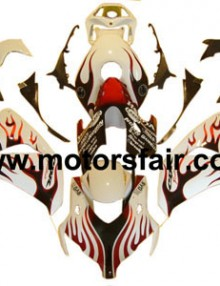 Honda CBR 1000RR 2008-2009 ABS Fairing - Red/White Flames***No Honda Logos***
