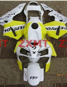 ZXMT White/Yellow Repsol ABS Fairing Set 17pc - Honda CBR 600RR 2003-2004***No Honda Logos***