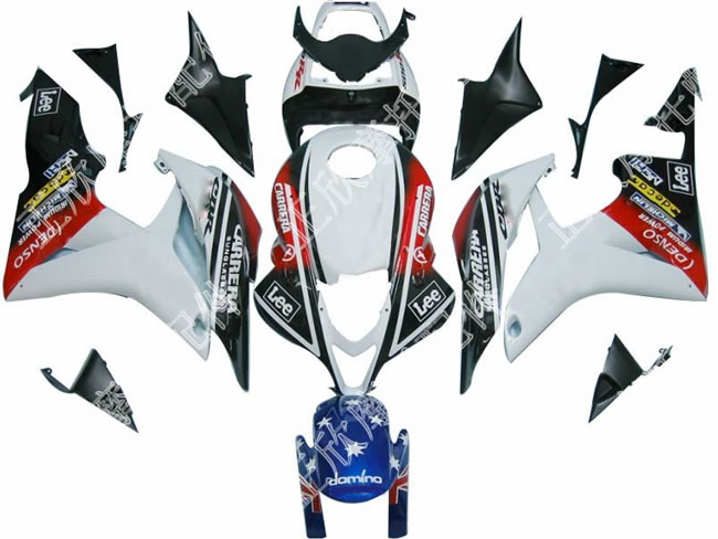 ZXMT White/Black/Red ABS Fairing Set 23pc - Honda CBR 600RR 2007-2008***No Honda Logos***