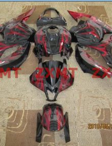 ZXMT Black/Red Flames ABS Fairing Set 26pc - Honda CBR 600RR 2009-2012