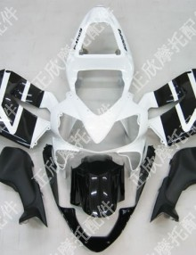 ZXMT Black/White ABS Fairing Set 8pc - Honda CBR 600RRF4i 2004-2007***No Honda Logos***