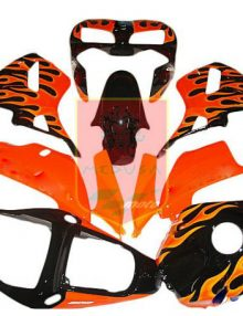 Aftermarket Black/Orange Flame ABS Fairing Set 14pc - Honda CBR600RR 2003-2004***No Honda Logos***