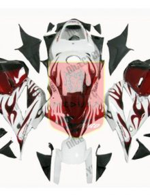 Aftermarket White/Red Flame ABS Fairing Set 25pc - Honda CBR600RR 2009-2012