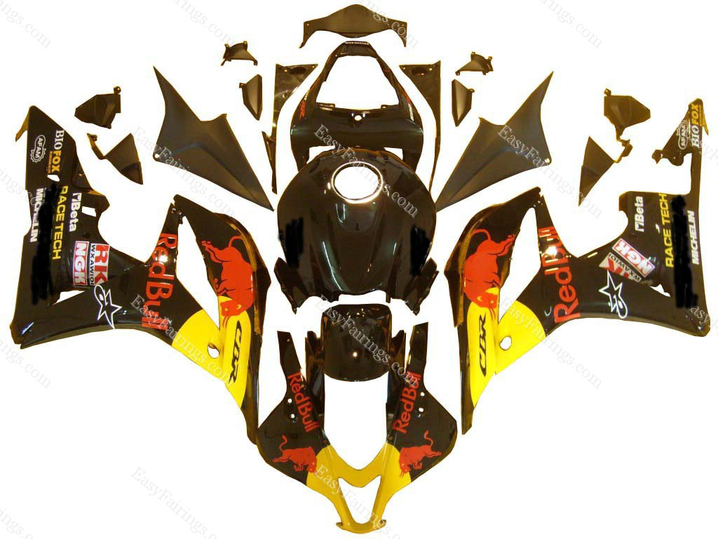 Black Red Bull Fairing Set 26pc - Honda CBR600RR 2009-2012