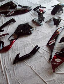 Black/Red Flame Fairing Set 15pc - Yamaha R6 2006-2007