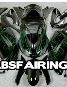 ABS Fairings Black w/Green Flames 21pc Fairing Set - Kawasaki ZX6R 2007-2008