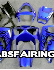 ABS Fairings Blue w/Black Flames 21pc Fairing Set - Kawasaki ZX6R 2007-2008