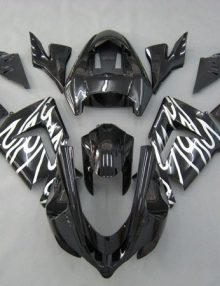 Black w/White Flames ABS 12pc Fairing Set - Kawasaki ZX-10R 2004-2005