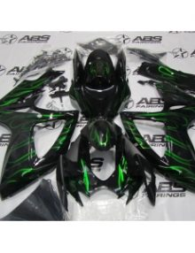 ABS Fairings Black with Green Flames - 06-07' GSXR 600/750