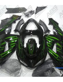 ABS Fairings Black with Green Flames - 06-07' ZX10R