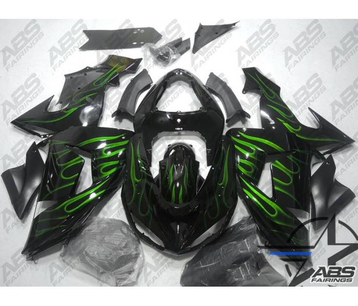 Abs Fairings Black With Green Flames 06 07 Zx10r Motorcycle