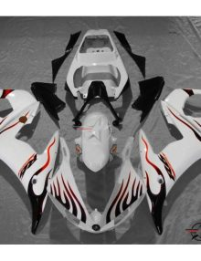 ABS Fairings White with Red & Black Flames - 06-09' R6S