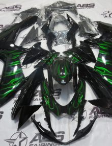 ABS Fairings Black w/Green Flames 26pc Fairing Set - Suzuki GSXR 600/750 2011-2014