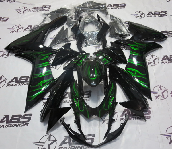 ABS Fairings Black w/Green Flames 26pc Fairing Set - Suzuki GSXR 600/750  2011-2016