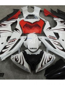 ABS Fairings White w/Red & Black Flames 24pc Fairing Set - Yamaha R6 2008-2014
