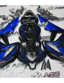 ABS Fairings Black w/Blue Flames 26pc Fairing Set - Honda CBR600RR 2007-2008
