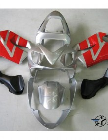 ABS Fairings Silver & Red 8pc Fairing Set - Honda CBR600 F4i 2001-2003