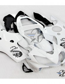 ABS Fairings White Dragon 8pc Fairing Set - Honda CBR600 F4i 2001-2003
