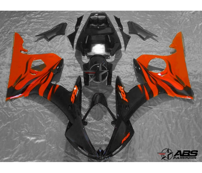 ABS Fairings Black with Red Flames - 06-09' R6S
