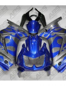 ABS Fairings Grey & Blue Flames - 08-11' Ninja 250R