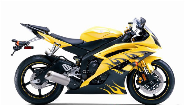 Yellow W Black Flames ABS 24pc Fairing Set
