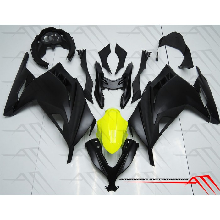 American Motorworks Flat Black And Yellow 13 15 Ninja 300